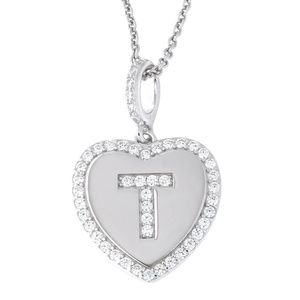 Letter T Initial Heart CZ Pendant Sterling Silver